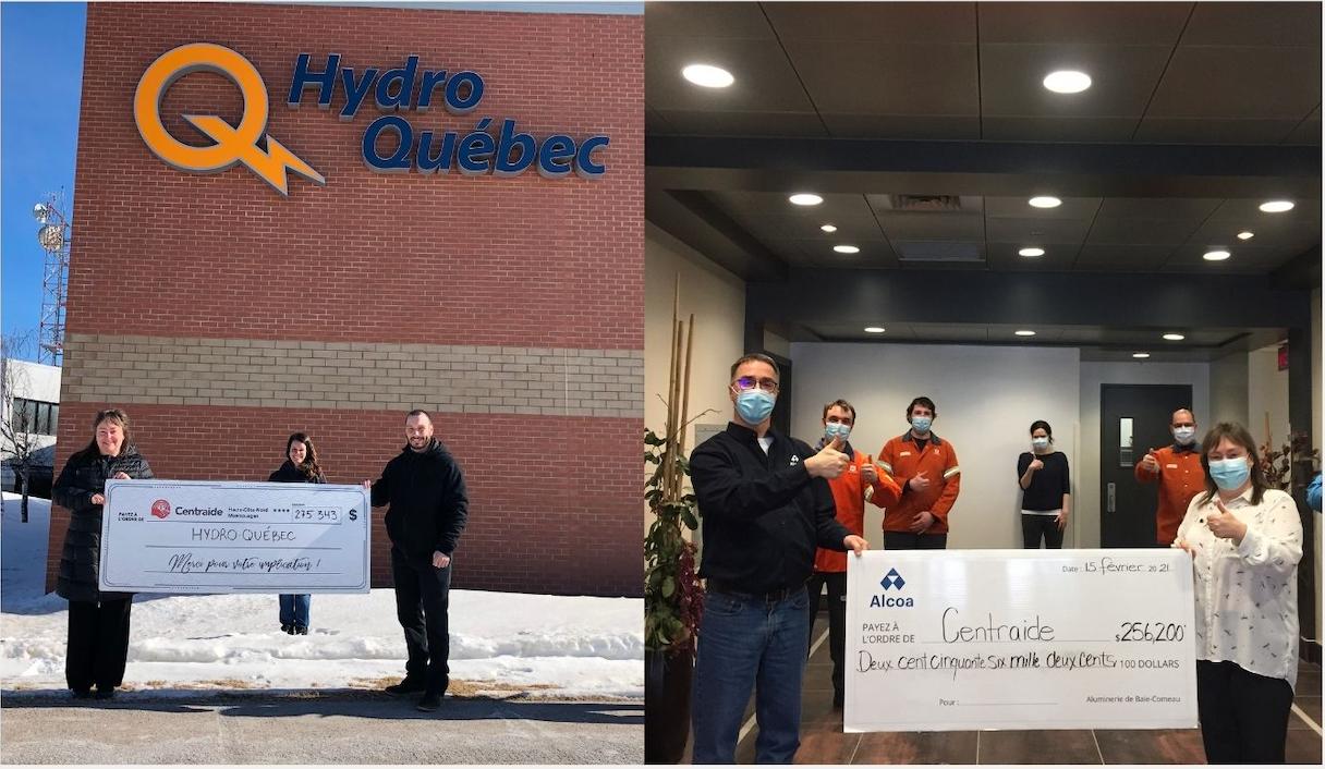 Merci à nos deux grands donateurs Alcoa et        Hydro-Québec, pour la campagne 2020-2021